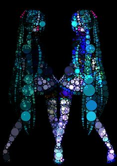 Tags: Anime, Hatsune Miku, Vocaloid, Abstract, Meola, Black Background, Circle