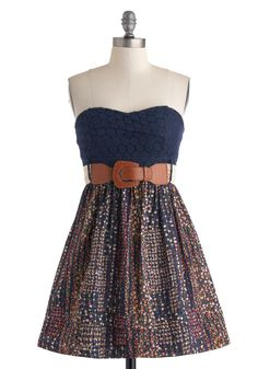Chrysanthemum Fields Forever Dress - Cotton, Blue, Multi, Floral, Lace, Belted, Casual, Strapless, Sweetheart, Boho, A-line, Empire