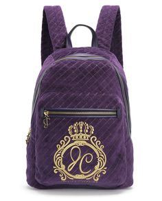 JC MONOGRAM QUILTED VELOUR BACKPACK - Juicy Couture