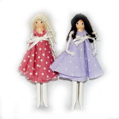 Children's Peg Doll Kit (2 Dolls, Embroidery thread not incl), Kid's Craft Kit