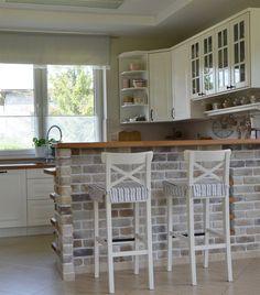 Love the brick on the breakfast bar Ikea Kitchen, Home Decor Kitchen, Kitchen Interior, Home Kitchens, Stone Kitchen Island, Small Open Plan Kitchens, Breakfast Bar Kitchen, Breakfast Bars, Cocinas Kitchen