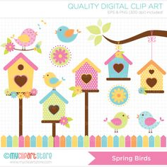 Spring Birds Clip Art / Digital Clipart - Instant Download