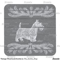 Vintage Wood Look Scottie Square Paper Coaster