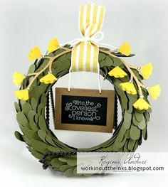 """SPRING WREATH - APRIL 2016 PAPER PUMPKIN - """"Lovely Little Wreath""""  - alternate version.  See the post for more details."""