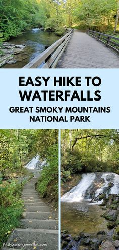 Easy waterfalls hiking trail in Great Smoky Mountains National Park - North Carolina NC spots