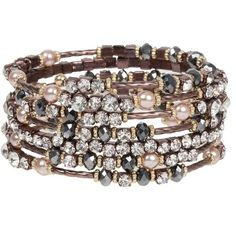 Breathtaking Hematite and Clear Crystal on Chocolate Gold Finish Wrap Bracelet with Faux Pearl Accents