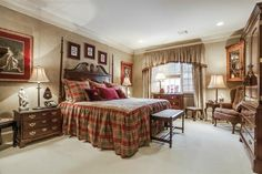 English plaid bedroom