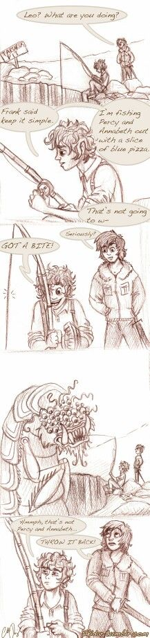 Leo Valdez and Nico Di Angelo - Frankly, I'm utterly shocked Percy let that thing get his blue pizza first. XD Leo looks so offended that's it's not Percy Annabeth. Percy Jackson Fan Art, Percy Jackson Memes, Percy Jackson Books, Percy Jackson Fandom, Leo Valdez, Magnus Chase, Percabeth, Solangelo, Percy And Annabeth