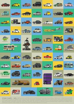 Star Cars – Vol 2, A Poster Featuring 71 More Illustrations of Famous Vehicles From TV and Movies