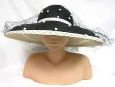 Frank Olive Neiman Marcus Black White Straw Wide Brim Hat Netting w White Poms | eBay