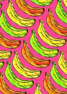 Banana pattern Art Print by Georgiana Paraschiv - Surface Pattern Design, Pattern Art, Design Patterns, Design Pop Art, Graphic Design, Textile Patterns, Textiles, Cocoppa Wallpaper, Banana Art