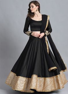 Buy Bollywood Vogue Black Sequinned Made To Measure Umbrella Lehenga & Blouse With Dupatta - Lehenga Choli for Women from Bollywood Vogue at Rs. Party Wear Indian Dresses, Designer Party Wear Dresses, Indian Gowns Dresses, Indian Bridal Outfits, Indian Fashion Dresses, Dress Indian Style, Indian Designer Outfits, Wedding Outfits, Wedding Dresses