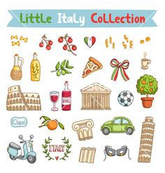 Little italy collection vector design elements by stolenpencil on VectorStock®