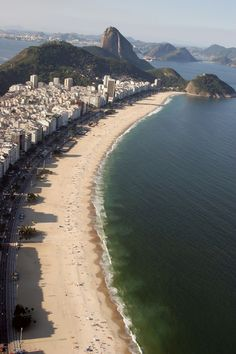 Copacabana Beach, the world famous beach lined with swaying palm trees ...