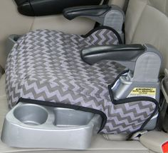 """Handmade- Evenflo Big Kid LX Booster seat covers (slide out cup holders) are made of two tone grey    chevron print (sorry out of chevron fabric in picture but have a nice two tone print) availble in polyester cotton print, featured in the second picture.  The booster seat is lined and quilted with 1"""" batting to make the cover padded and durable.    Each are washable and in colors and prints that will encourage your child to stay seated.    The booster seat cover has elastic loops to hook on…"""