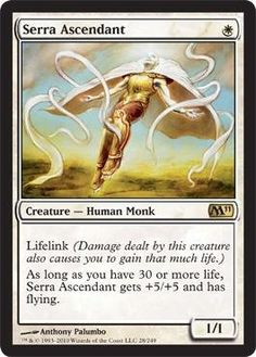 Magic: the Gathering - Serra Ascendant - Magic 2011 by Wizards of the Coast. $10.98. This is of Rare rarity.. A single individual card from the Magic: the Gathering (MTG) trading and collectible card game (TCG/CCG).. From the Magic 2011 (M11) set.. Magic: the Gathering is a collectible card game created by Richard Garfield. In Magic, you play the role of a planeswalker who fights other planeswalkers for glory, knowledge, and conquest. Your deck of cards represents all ...