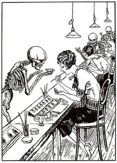 "This 1928 cartoon shows Death hovering over ""Radium Girls."" The Radium Girls were female factory workers who contracted radiation poisoning from painting watch dials with glow-in-the-dark paint. The women, who had been told the paint was harmless, ingested deadly amounts of radium by licking their paintbrushes to give them a fine point; some also painted their fingernails and teeth with the glowing substance."