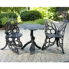 $570.00 (CLICK IMAGE TWICE FOR UPDATED PRICING AND INFO)  Patio Furniture - Butterfly Bistro Set - FHBFBSET-B - Black - See More Butterfly Chairs at http://www.zbuys.com/level.php?node=3925=butterfly-chairs