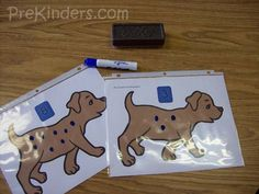 I made these mats for a recent Pets Theme we did in my class. This is a counting practice activity. The children use a dry erase marker and eraser. They identify the numeral at the top and draw that amount of spots on the puppy. I printed these on cardstock and slipped them in clear …