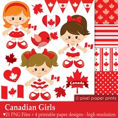 Canadian Girls  Canada day  Digital paper and by pixelpaperprints