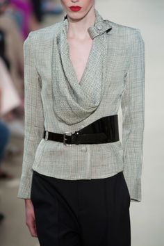 """Bouchra Jarrar Fall 2012   This model could use a #ToplessTee women's #undershirt underneath this gorgeous blouse in the color """"light"""" and no one would see it.  (We're guessing she takes an x-small. ;))"""