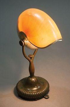 Tiffany Studios gilt bronze, abalone and nautilus shell lamp ...