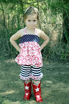 4th of July ~ I always dressed our kids in red-white-blue...but never quite so 'stylin' as this little miss! (PJ)