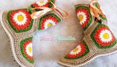 5 MOTİFTEN EV BOTU YAPIMI#moda #hobi #hobby #elişi #kadın #orgu #knitting Crochet Chart, Crochet Granny, Knit Crochet, Knitting Stiches, Baby Knitting Patterns, Crochet Shoes, Crochet Slippers, Granny Square Slippers, Crochet Videos