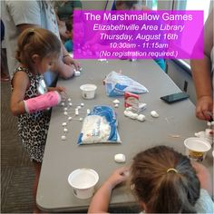 Join #TheLibrary next Thursday (August 16th) for our LAST session of The Marshmallow Games at Elizabethville Area Library! Starting at 10:30am we will have family games like marshmallow toss, marshmallow stacking, marshmallow relay, and many more.  No registration required!