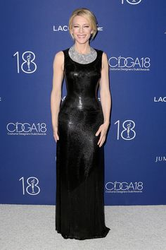 Cate Blanchett in Versace gown and Tiffany's necklace
