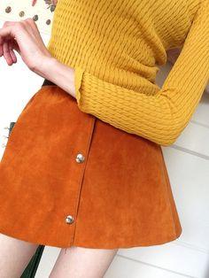 Wildleder Orange 70er Jahre Rock (den wollte fast jedes Mädchen haben) gab's auch in anderen Farben...