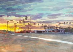 "I pass this intersection everyday on my way to and from work.  An especially beautiful sunrise.  watercolor, 15x20"", 2012 www.jeanniespaintings.com"