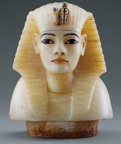 Bust of Tutankhamun  This alabaster sculpture of King Tutankhamun (1332 to 1323 B.C.)....se
