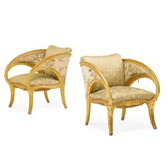 Joan Busquets, Pair of Palacio Guell Armchairs, Art Nouveau/Modernisme Català giltwood frames with upholstery, Spain, 1903 #ArtNouveauFurniture