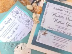 Musical Wedding or Party Invitation and RSVP Card in Sand, Teal Turquoise Beach Water Colors Blue and white sea shells and star fish with ribbon and embellishment. Comes in Musical Box that Sings! Singing Music boxed invite. Totally custom, high end/class, couture, elegant invite.