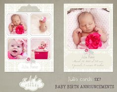 Julia Baby Birth Announcements C005 by ArtonClouds on Etsy, $8.00
