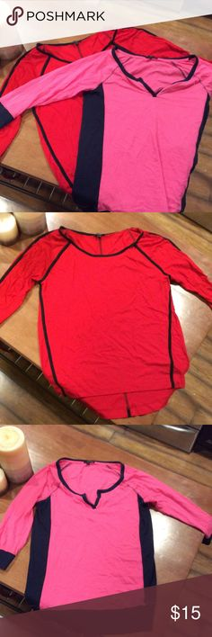Express shirts One red and black three quarter length sleeve casual shirt.   One pink and blue three quarter length sleeve casual shirt Express Tops Tees - Long Sleeve