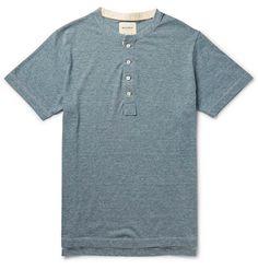 Billy ReidMicro-Stripe Cotton-Blend Jersey Henley T-Shirt