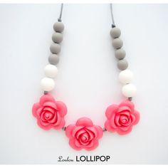 Pink Rose Silicone Teething/Nursing Necklace - Flower teething beads, rosette necklaces, girls teething necklaces, baby necklaces