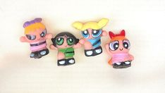 4 pc POWERPUFF GIRLS Mini Figures Play Set Cake Topper Party Favor Girls Toy #PartyTime