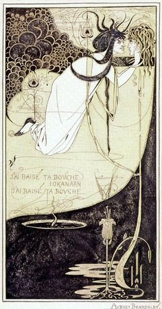 "The climax. Ink and green wash. Illustration by Aubrey Beardsley from a 1893 ed. of ""Salome"" by Oscar Wilde"