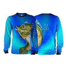 Camisa Pesca Quisty Tilápia Bocuda Proteção UV Dryfit Infantil Azul bf1b0225aaf60