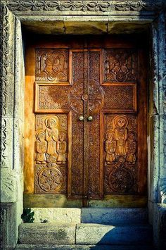Old wooden door in Gandzasar monastery (XIII century).
