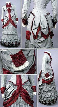 One-piece day dress, no date. Gray alpaca with trim of burgundy silk atlas and white cotton and lined in silk atlas. Closes up front with hooks & eyes. Göteborg Stadsmuseum