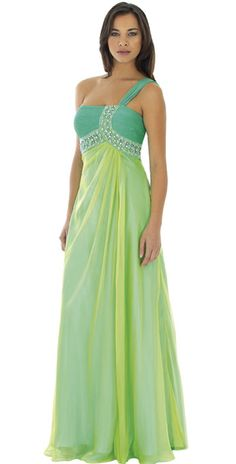 Chubby Beading Ruched Flat One Shoulder Empire Chiffon Evening Dress