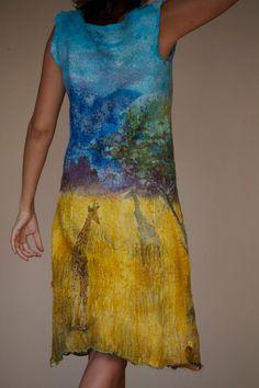 Nuno felted dress African savanna.