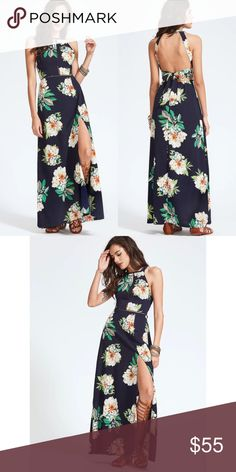 0b272e92a5 MADDIE Navy Floral Open Back Maxi Dress Maxi dress with open back and tie.  Cut out design details on front. Side slit. PRICE FIRM