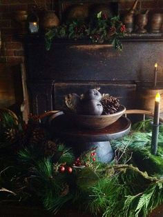 I love this primitive Christmas centerpiece.