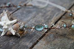 Mermaid Head Wreath - Wedding Halo - Seashell Crown / Sparkle & Posy