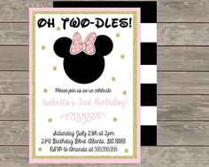 Oh TWO-DLES Minnie Mouse Birthday Invitation by StayGoldenDesigns